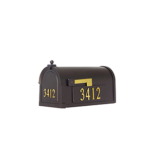 Curbside Black Mailbox with Front and Side Address Numbers and Baldwin Front Single Mounting Bracket