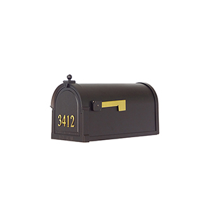 Curbside Black Mailbox with Front Numbers and Baldwin Front Single Mounting Bracket