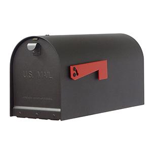 Curbside Black Titan Steel Mailbox with Baldwin Front Single Mounting Bracket