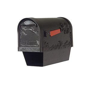Curbside Black Nine-Inch Hummingbird Mailbox with Newspaper Tube and Baldwin Front Single Mounting Bracket