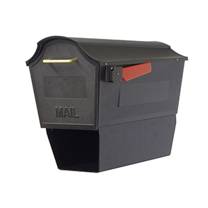 Curbside Black Town Square Mailbox with Newspaper Tube and Baldwin Front Single Mounting Bracket