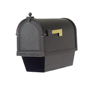 Curbside Black Berkshire Mailbox with Newspaper Tube and Baldwin Front Single Mounting Bracket
