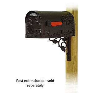 Curbside Black Hummingbird Mailbox with Floral Front Single Mounting Bracket