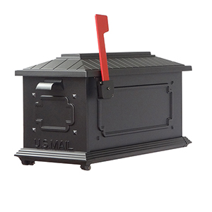 Curbside Black Kingston Mailbox with Floral Front Single Mounting Bracket