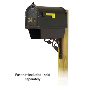 Curbside Black Mailbox with Front Address Number and Floral Front Single Mounting Bracket
