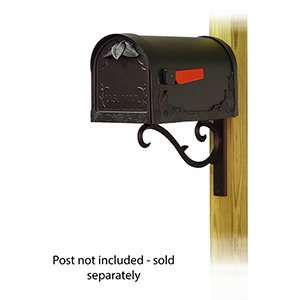 Curbside Black Classic Mailbox with Sorrento Front Single Mounting Bracket