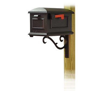 Curbside Black Traditional Mailbox with Sorrento Front Single Mounting Bracket