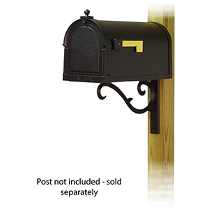 Curbside Black Berkshire Mailbox with Sorrento Front Single Mounting Bracket