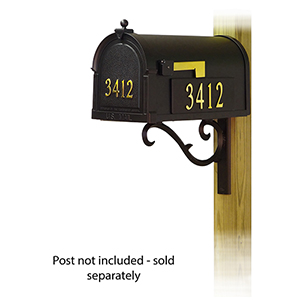 Curbside Black Mailbox with Front and Side Address and Sorrento Front Single Mailbox Mounting Bracket
