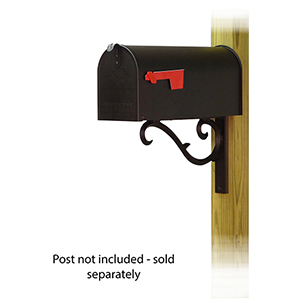 Curbside Black Standard Steel Mailbox with Sorrento Front Single Mounting Bracket