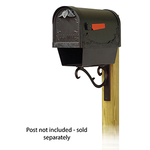 Curbside Black Floral Mailbox with Newspaper Tube and Sorrento Front Single Mounting Bracket