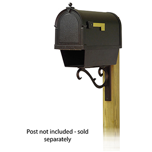 Curbside Black Nine-Inch Berkshire Mailbox with Newspaper Tube and Sorrento Front Single Mounting Bracket
