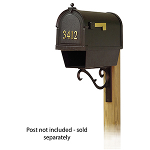 Curbside Black Mailbox with Front Address Numbers and Sorrento Front Single Mailbox Bracket