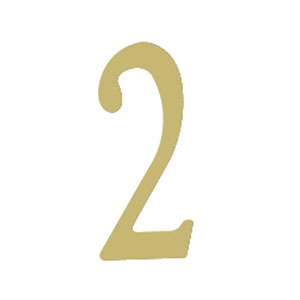 Brass 2-Inch House Number Two