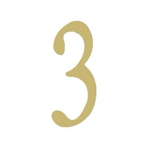 Brass 3-Inch House Number Three