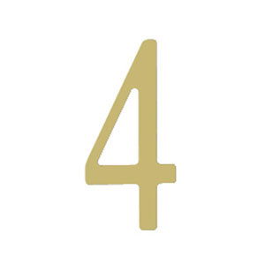 Brass 3-Inch House Number Four