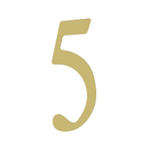 Brass 3-Inch House Number Five
