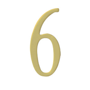 Brass 3-Inch House Number Six
