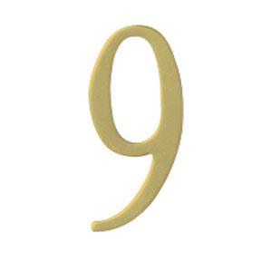 Brass 3-Inch House Number Nine