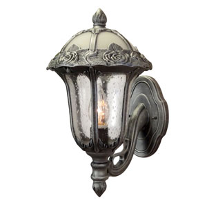 Rose Garden Swedish Silver Small Bottom Mount Light with Seedy Glass