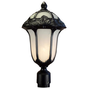 Rose Garden Black Medium Post Mount Light with Alabaster Glass