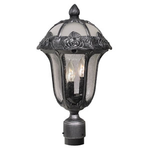 Rose Garden Swedish Silver Medium Post Mount Light with Seedy Glass