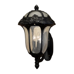 Rose Garden Black Large Bottom Mount Light with Seedy Glass
