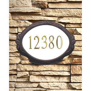 Floral Copper Address Plaque
