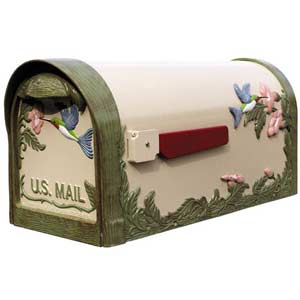 Hummingbird Hand Painted Curbside Mailbox
