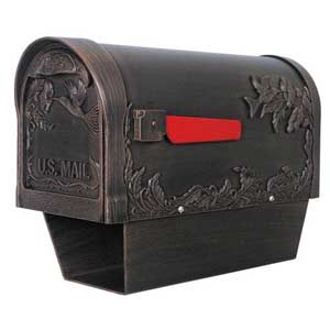 Hummingbird Copper Curbside Mailbox with Paper Tube