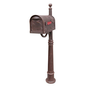 Hummingbird Copper Curbside Mailbox with Ashland Mailbox Post Unit