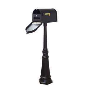 Berkshire Curbside Mailbox with Locking Insert and Tacoma Mailbox Post in Black