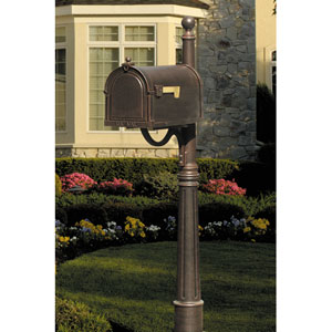 Berkshire Copper Curbside Mailbox with Ashland Post