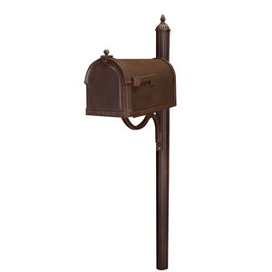 Berkshire Copper Curbside Mailbox with Richland Mailbox Post Unit