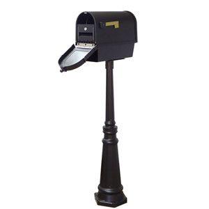 Berkshire Curbside Mailbox with Newspaper Tube, Locking Insert and Tacoma Mailbox Post in Black
