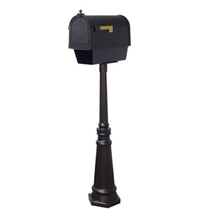Berkshire Curbside Mailbox with Newspaper Tube and Tacoma Mailbox Post with Direct Burial Kit in Black