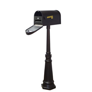 Classic Curbside Mailbox with Locking Insert and Tacoma Mailbox Post in Black