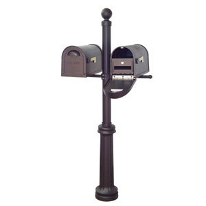 Classic Curbside Mailboxes with Locking Inserts and Fresno Double Mount Mailbox Post in Black