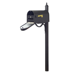 Classic Curbside Mailbox with Locking Insert and Richland Mailbox Post in Black