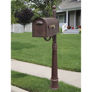 Classic Copper Curbside Mailbox with Ashland Mailbox Post Unit