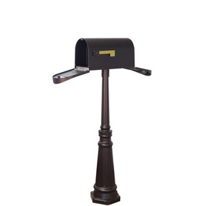 Classic Curbside Two Door Mailbox and Tacoma Mailbox Post in Black