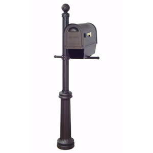 Classic Curbside Mailbox with Newspaper Tube and Fresno Mailbox Post in Black