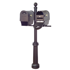 Classic Curbside Mailboxes with Newspaper Tube, Locking Inserts and Fresno Double Mount Mailbox Post in Black