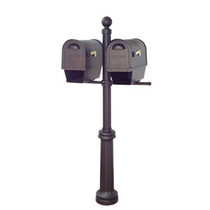 Classic Curbside Mailboxes with Newspaper Tube and Fresno Double Mount Mailbox Post in Black