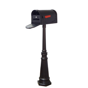 Floral Curbside Mailbox, Locking Insert and Tacoma Mailbox Post in Black