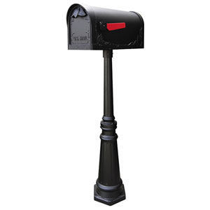Floral Curbside Black Mailbox with Tacoma Mailbox Post Unit