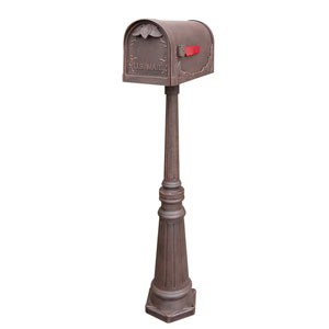 Floral Curbside Copper Mailbox with Tacoma Mailbox Post Unit