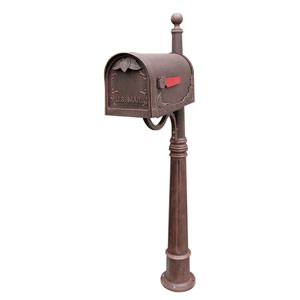 Floral Curbside Copper Mailbox with Ashland Mailbox Post Unit