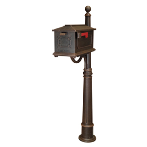 Kingston Copper Curbside Mailbox with Ashland Mailbox Post Unit