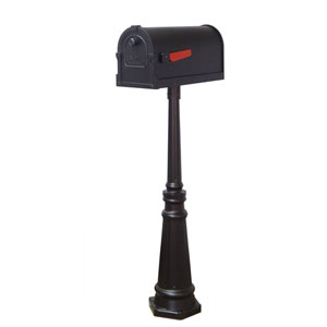 Savannah Curbside Mailbox and Tacoma Mailbox Post with Direct Burial Kit in Black